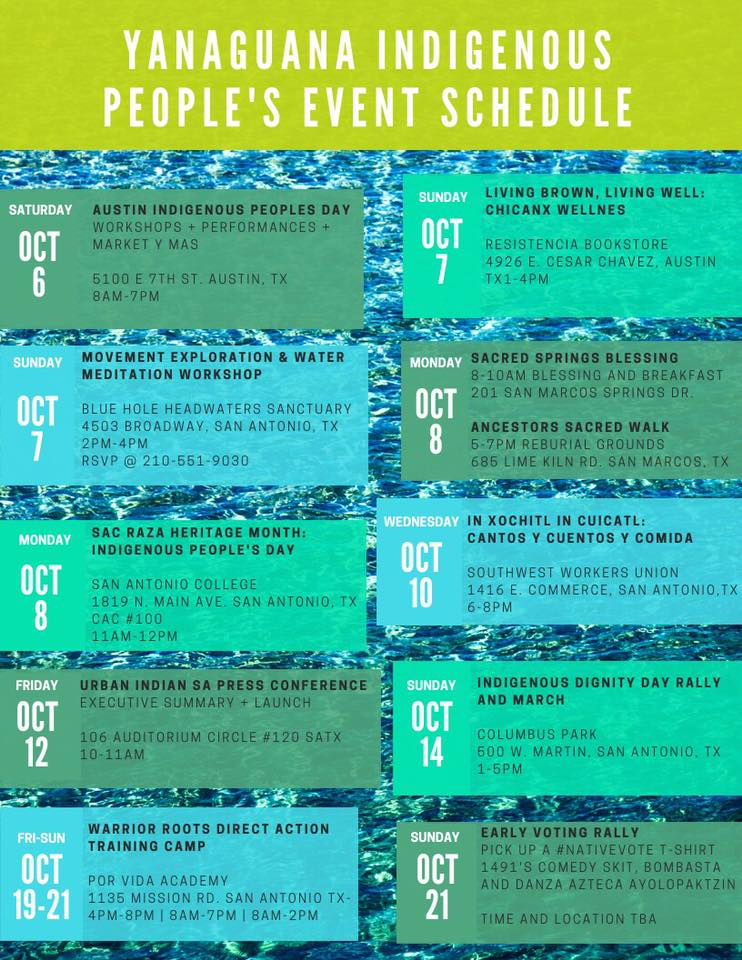 Yanaguana Indigenous People's Event Schedule & #INDIGENOUSPEOPLESDAY2018 Los Angeles