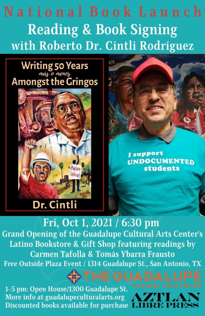Read more about the article Save the date: Fri 10/1 in San Antonio-National Book Launch for Dr. Cintli's New Book